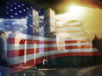 Twin-towers-wrapped-in-flag
